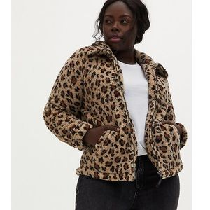 🆕 Torrid NWT Leopard Sherpa Teddy Jacket